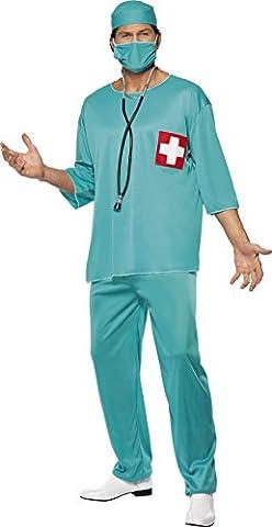 Smiffys, Herren Chirurg Kostüm, Tunika, Hose, Haube und Mundschutz, Größe: L, 21781 (Mad Krankenschwester Halloween Kostüm)