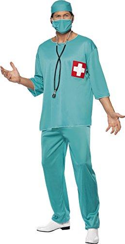 Smiffys, Herren Chirurg Kostüm, Tunika, Hose, Haube und Mundschutz, Größe: L, (Kostüm Krankenschwester Zubehör Halloween)