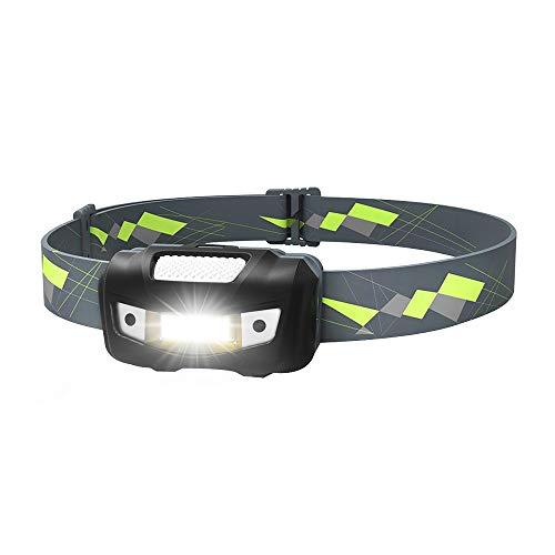 Make The Change LED-Stirnlampe, Multifunktions-Sensor-Stirnlampe, 2 Modi, 125 Lumen, COB-Lampen Birnen Stirnlampen, verstellbares Stirnband, IPX6 wasserdicht, leicht, perfekt für Nacht-Laufen(Black) -