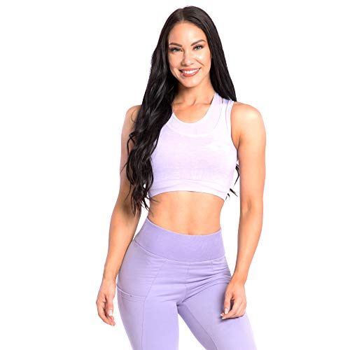 SMILODOX Seamless Sport BH Spine | Fitness-BH ohne Bügel | Starker Halt im Training - Bustier für Pilates Yoga Gym Fitness - Soft Büstenhalter - Sports Bra, Farbe:Lila, Größe:M