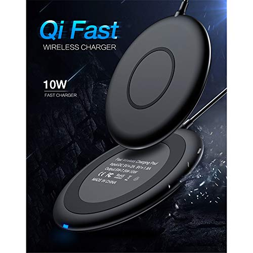 SMBYQ Wireless Charger Round 10W Fast Charger Qi-Certified Desktop Charging Station 7.5W Compatible iPhone X/8/8 Plus, 10W Galaxy S9/S9/S8+/S8/Note 8/S7 Edge/S7/S6/S6 Edge