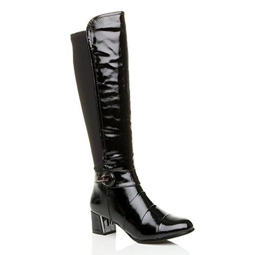 Donna tacco medio cerniera lampo fibbia allargare stivali polpaccio numero Nero vernice