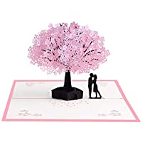 Czemo 3D Greeting Card with Envelope Cherry Blossom Pop Up Card, Wedding Card, Birthday Card, Valentine