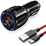 JOYSEUS 30W Dual USB CAR Mobile Charger QC 3.0 3.1A and Smart IC 3.1A with Type C Cable; Fast Charging Compatible with Samsung Galaxy; iPhone XR X 8 7 6 5; iPad; LG; Moto ETC (Black)