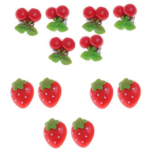 TENDYCOCO 12 stücke 6 Paar Mädchen Ohrclips Cartoon Nette Ohrstecker Ohrclips Schmuck Ornamente für Kinder (Erdbeere 3 Pairs + Kirsche 3 Pairs) -