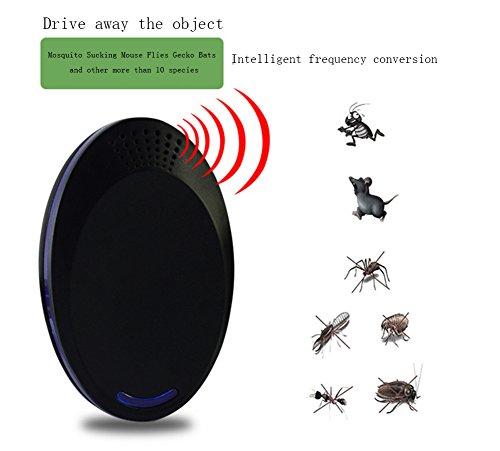 Ultraschall Schädlingsbekämpfer Innen Elektronische Plug-In Kontrolle Insekten Abwehr Spinnen Ameisen Ungeziefer Mäuse Insekten Flöhe Bettwanzen Sehr Effektiv Nagetier Schädlingsabwehr 2St,Black