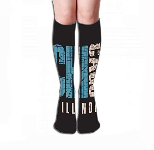 Xunulyn Hohe Socken Men Women Outdoor Sports High Socks Stocking Chicago Illinois Print Design Stamp Label Typography Tile Length 19.7