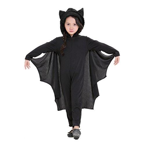 (GWELL Fledermausflügel Kinderkostüm mit Hut Junge Mädchen Schwarz Jumpsuit Umhang Halloween Karneval Fastnacht Cosplay S)