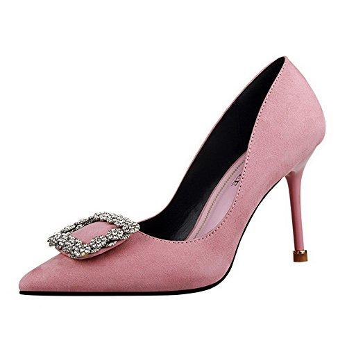 AalarDom Femme Couleur Unie à Talon Haut Pointu Tire Chaussures Légeresavec Bijou Rose