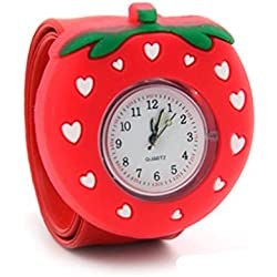 Top Quality New Cute Luminous Kids Boys Girls Silicone 3D Cartoon Animal Bendable Slap Watch Clap on Hand Gift Birthday Xmas - Red Strawberry