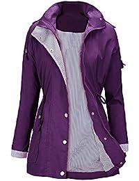 fb192ced4125 Manteau Imperméable Veste de Pluie Femme Poncho Pluie à Capuche Zippé Cape  de Pluie Manches Longues
