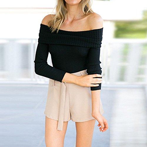 LAEMILIA T-Shirt Pull Long Femme Automne sans Bretelle Col Revers Slim Vintage Chandail en Tricot Rayure Pull-Over Chaud Blous Veste Noir