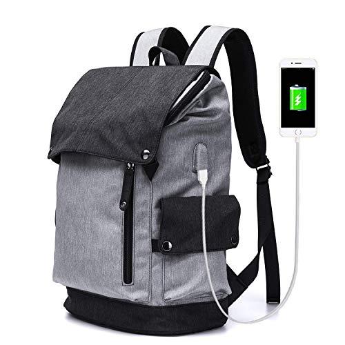 BEWITCHYU Ultraleichter wasserdichter Oxford-Rucksack mit USB-Aufladung, Outdoor-Wandern, Camping-Reisen, atmungsaktive Laptoptasche mit großer Ka