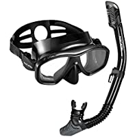 NACATIN Snorkel Set, Anti-Leak Diving Snorkel Mask with Soft Silicone,Foldable Dry Top Collapsible Snorkel Snorkeling Gear Set for Adult Youth(Black)