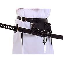 BLESSUME Espadas Negro Funda con cinturón Medieval Estoque Cruz Cordones Titular Cinturón