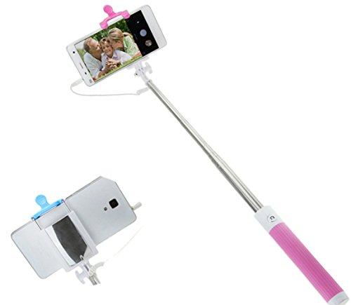 Selfie-Stange Stick Einbeinstativ Arm Teleskop ausziehbar mit kleinem Spiegel kabellos Fernbedienung Kabel tragbar Universal für iPhone, Android Smartphones 19,3cm-81cm Nachhaltige Einheitsgröße rot/rosa