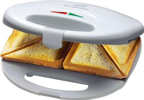 Sandwich-Toaster 750 Watt (2-Scheiben-Sandwichmaker, Antihaft-Beschichtung, Backampel, Kontrollleuchte, weiß)