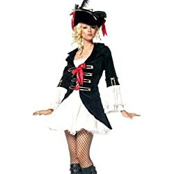 Disfraz Forever Young de Lady Capitán Pirata más sombrero negro blanco y negro