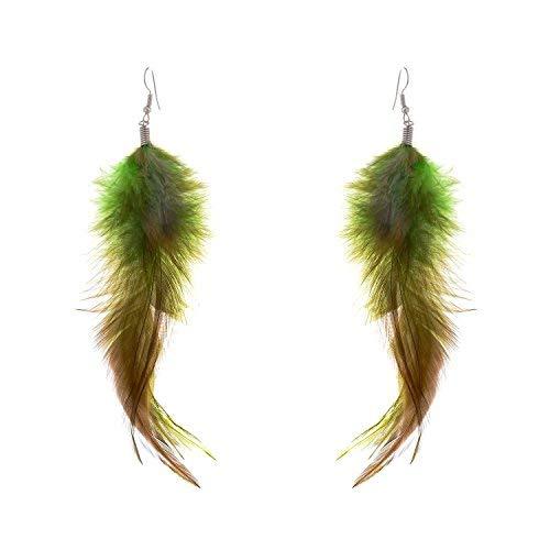 lureme® böhmischen Stil Federn mit kleinen Feder Quaste Ohrringe für Frauen und Mädchen (02004736) (grün)