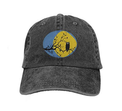 Xunulyn Unisex Women Cotton Adjustable Baseball Caps Low Profile Washed Dad Hats Night owl Moon Small Black