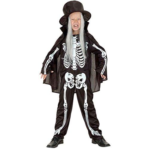 Jungen Mädchen Haloween Skeleton Boy Kostüm Alter 4-12 Jahre (Small (Age 4-6 Years), Schwarz)