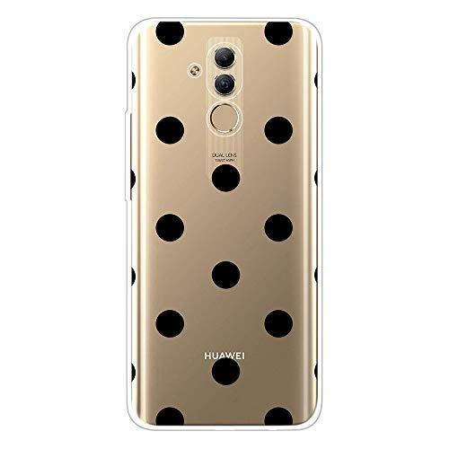 Miagon Klar Hülle für Huawei Mate 20 Lite,Kreativ Silikon Case Ultra Schlank Transparente Weich Handyhülle Anti-Kratzer Stoßfest Schutzhülle,Schwarz Punkt