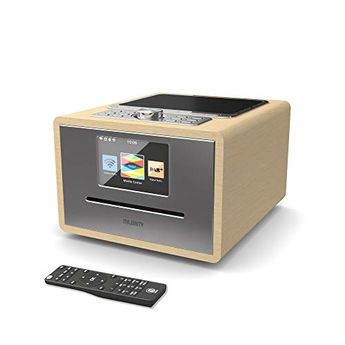 Majority Homerton Internet Radio Wi-Fi - Digital-Radio DAB/DAB+/UKW - CD-Player - Fernbedienung - Bluetooth - Dual Wecker, AUX und USB Anschluss, App-Steuerung (Eiche)