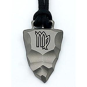 D-Vision-Jewelry Titan Faustkeil Sternzeichen Jungfrau Amulett aus Reintitan Herrenschmuck Anhänger Lederband