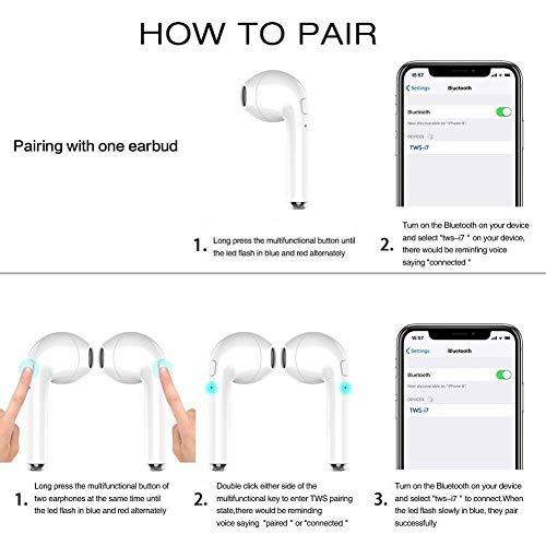 qibang2 Auricolare Bluetooth con 2 microfoni integrati ad Alta fedeltà e Custodia di Ricarica per Una Lunga Durata della Batteria. Compatibile con Tutti i dispositivi mobili e Bluetooth - 4