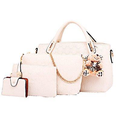 Fashion Casual Women's Bag Multifunctional Handbag PU Handbag Messenger Bag Woman Shopping Collection Of Four Loaded,Beige