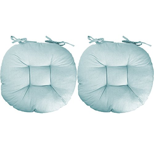 Mojawo 2er Stuhlauflagen Stuhlkissen Sitzkissen Polster Stuhl Kissen hellblau 100% Polyester rund 40x40cm - Polyester Runden Stuhl