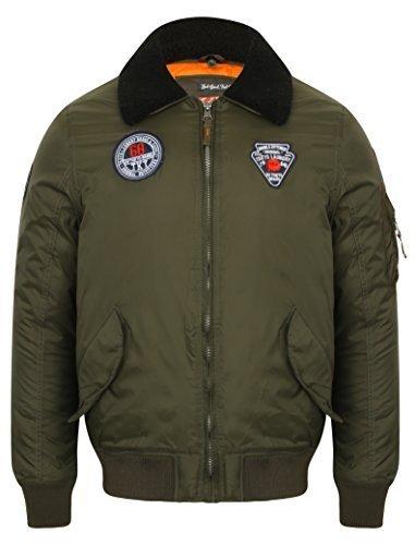 Herren Bomber Tokyo Laundry Jacke Aviator fliegend Mantel Sherpa Fleece Kragen Abzeichen - khaki - 1j9559, Large (Sherpa-bomber)