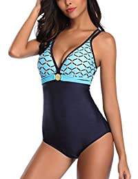 AOQUSSQOA Damen Badeanzug Einteilege Leopardenmuster Bademode Figurformend Bauchweg Bikini Große Größe Strandmode