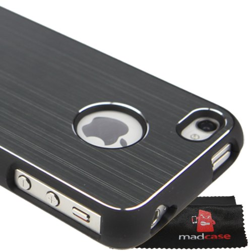 MadCase Apple iPhone 4S / 4 Aluminium Metalle Elegante Pro Case Etui Hülle case mit schwarzen bumper - dunkelblau - Grau