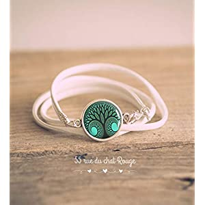 Armband Double Turn Kunstleder weiß, Cabochon Lebensbaum, grün und entblau