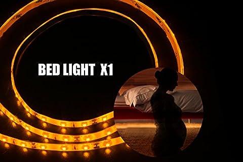 Led-Streifen Licht,Bewegung Aktiviert Bett Licht,VILSOM Flexibler Led Streifen,Bewegungsmelder Nachttischlampe,Led Band,Led Strip Light,LED Kette,LED Lichtleiste,Bewegung Aktivierte LED-Lichtleiste,Led Bett Beleuchtung,Led mit Bewegungsmelder (1 x 1.2M/3.9Ft,Warmweiß)