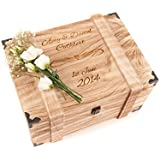 Personalised Engraved Wedding Wooden Keepsake Memory Chest Box for cards Vintage Case