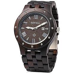 Herren Armbanduhr - 46mm rundes Zifferblatt, Armbanduhr aus Sandelholz und Ahorn - Schwarz - Miyota Drehung - Wasserdicht - Datum, 3 Uhrzeiger, Stoppuhr Funktion