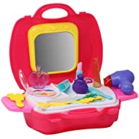 Zest 4 Toyz 20 Pcs Pretend to Play Cosmetic and Makeup Toy Set Kit for Little Girls | Beauty Set with Mirror, Hair Dryer…