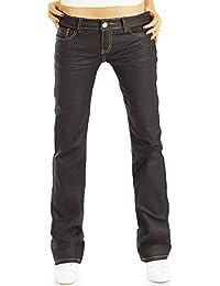 Bestyledberlin Damen Boot-Cut Jeans, Gewachste Schlagjeans, Waxed Hüftjeans j40g