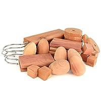 Hangerworld Pack of 30 Cedar Wood Piece Moth Repellent Set - Mixed Shapes 440g
