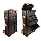 WestWood Portable Tool Box Organiser Trolley | Heavy Duty Wheelie Storage Box Nail