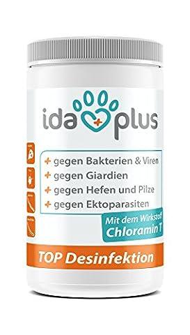 IdaPlus - CHLORAMIN-T Top Desinfektion (1000 g)   Universelles Desinfektionsmittel gegen Giardien, Kokzidien, Pilze, Bakterien und Viren bei Tieren   100 g Pulver ergibt 10 Liter Desinfektionslösung