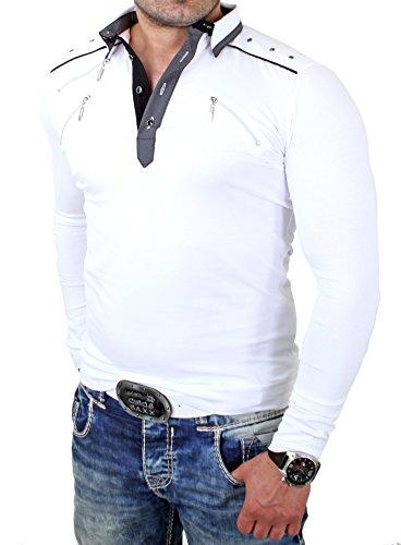 Reslad Langarmshirt Herren Zipper Style Longsleeve RS-5028L Weiß