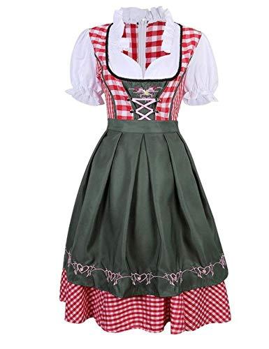 Frauen Oktoberfest Kostüm Plus Size Red Plaid Deutsch Oktoberfest Bier Mädchen Kostüm Dirndl Kleid Bier Wench Biergarten Uniform,As (Deutsch Bier Mädchen Kostüm)