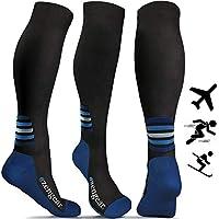aZengear Compression Socks for Men Women - Cushioned Flight Socks - Ideal for Skiing Travel Athletics Running Nurses Shin Splints Pregnancy Blood Circulation 20-30 mmHg