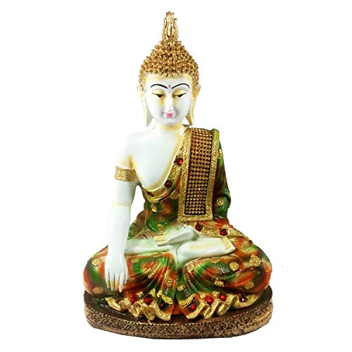 Sacred Blessings® White Meditating Sitting Buddha Statue 28 cm(H) X 19 cm(L) X 10 cm(W) Home Decor Showpiece Idol Handcrafted Gift