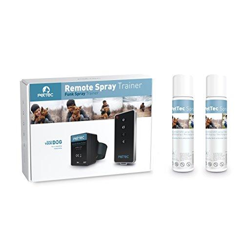PetTec Remote Spray Trainer Ferntrainer Antibell Erziehungshalsband mit Tonsignal und Schonender Sprühfunktion inkl. 2x Nachfüllspray neutral und Batterien