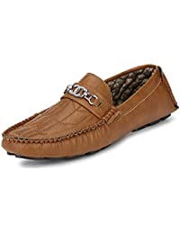 Fucasso Men's Synthetic Smart Fit Casual Tan Driving Shoes