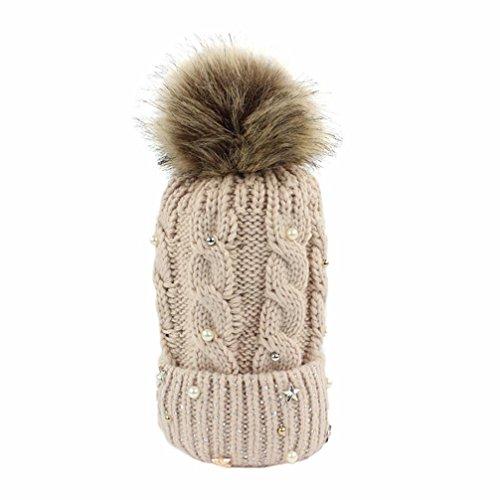 schenk Plüschkugel Mützen damen Sterne Perle Dekoration Hut Frauen bunt Luxuriös Caps Plüschkugel Schnee outdoor Plüschkugel (One size, Beige) (Carhartt-schnee-handschuhe)